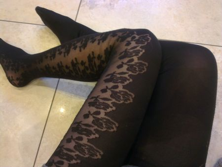 Topshop Trailing Roses Tights in Black