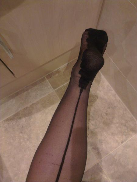 Black Stockings Heel and Foot