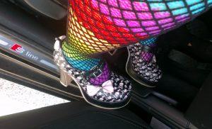 rainbow fishnets goth