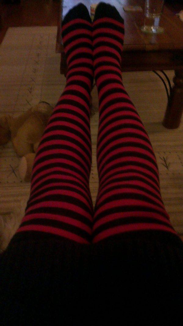 Stripey red socks